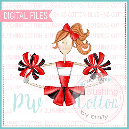 CHEERLEADER RED AND BLACK UNIFORM WITH RED HAIR DESIGN  BCPW