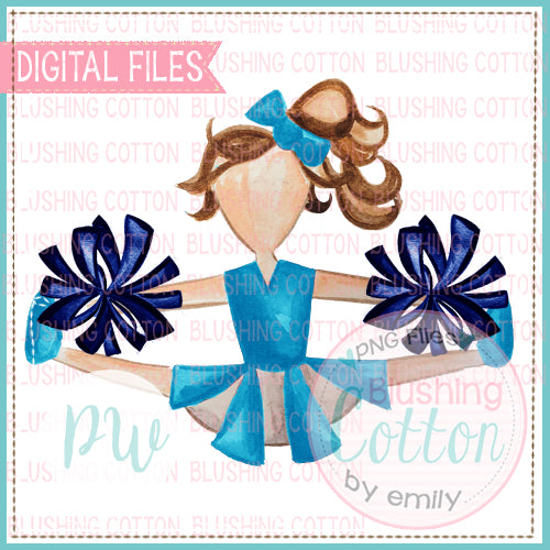 CHEERLEADER TEAL BLUE AND NAVY POMPOMS DESIGN WATERCOLOR PNG BCPW