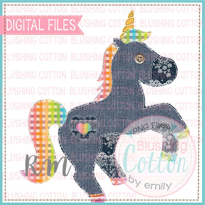 PATCHWORK UNICORN WITH HEART PATCH FAUX APPLIQUE DESIGN BCRM