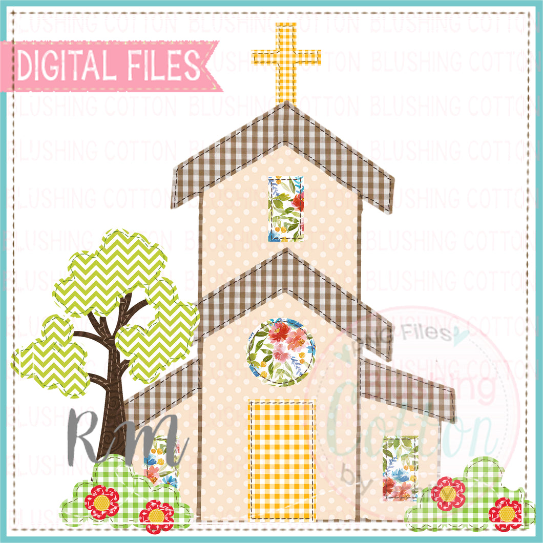 PATCHWORK CHURCH WATERCOLOR DESIGN BCRM