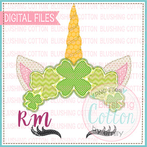 PATCHWORK ST PATRICKS DAY UNICORN WATERCOLOR DESIGN BCRM