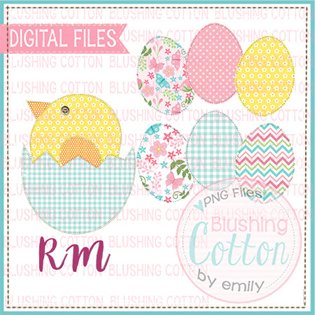 PATCHWORK CHICK HATCHING AND EGG SET WATERCOLOR DESIGN BCRM