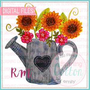 SPRING FLORAL WATERING CAN WATERCOLOR DESIGN BCRM