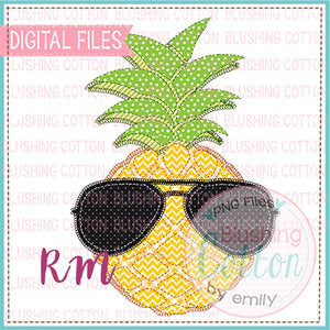 PATCHWORK COOL PINEAPPLE WITH SUNGLASSES DESIGN BCRM