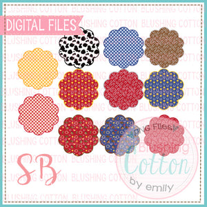 WESTERN PRINT SCALLOP BACKGROUND SET BCSB