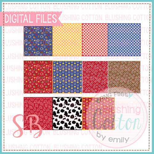 WESTERN PRINT SQUARE BACKGROUND SET BCSB