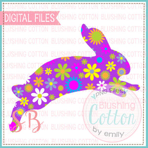 HOPPING BUNNY PURPLE FLORAL DESIGN FOR PRINTING AND OTHER CRAFTS BCSB