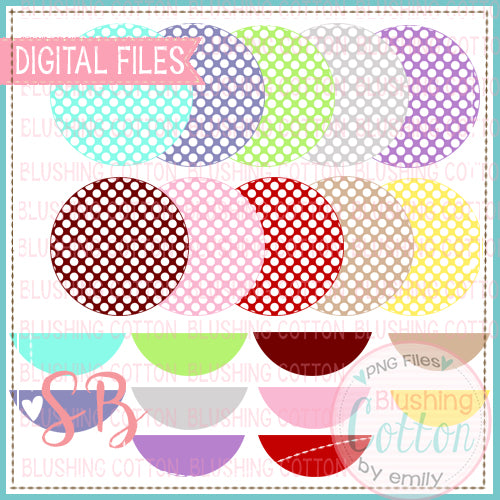 POLKA DOT CIRCLES BACKGROUND WITH NAME PLATES MIX AND MATCH BUNDLE BCSB
