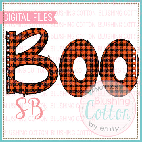 BOO ORANGE AND BLACK BUFFALO PLAID  DESIGN BCSB