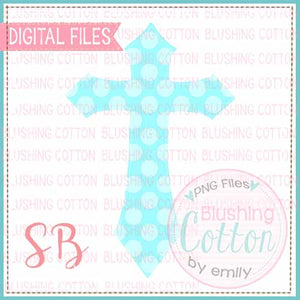 CROSS TEAL POLKA DOT WATERCOLOR DESIGN BCSB