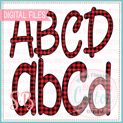 RED BLACK BUFFALO PLAID ALPHA  BCSB