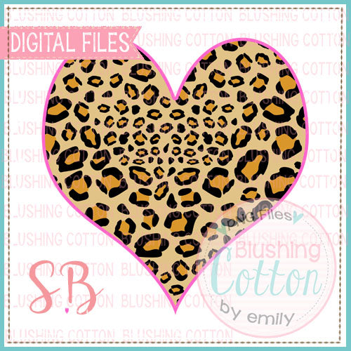 HEART LEOPARD PRINT WITH PINK OUTLINE DESIGN FOR PRINTING AND OTHER CRAFTS BCSB