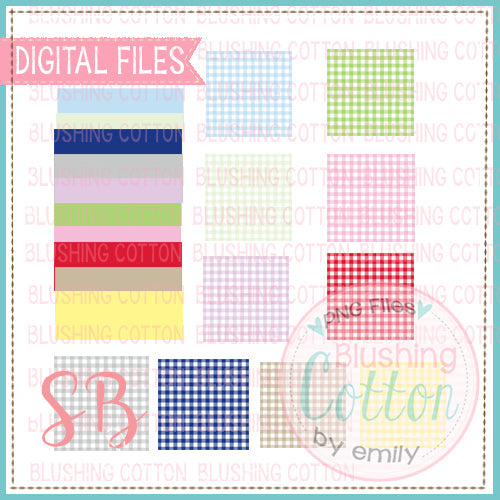 GINGHAM BACKGROUND WITH NAME PLATES MIX AND MATCH SQUARE BUNDLE SET 1 BCSB