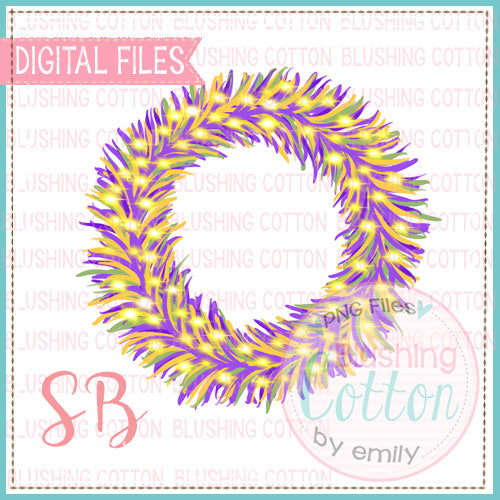 MARDI GRAS TINSEL WREATH WATERCOLOR DESIGN BCSB
