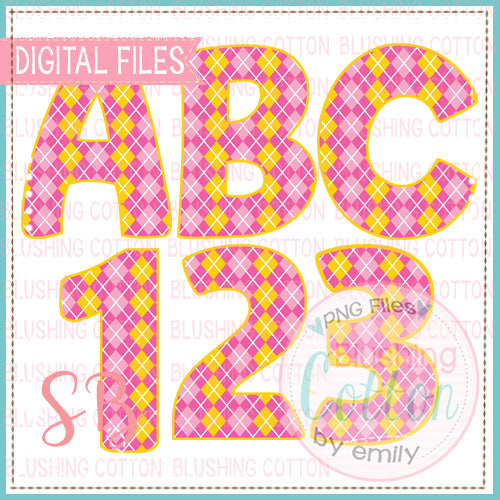 PINK AND YELLOW ARGYLE ALPHA AND NUMBER BUNDLE   BCSB
