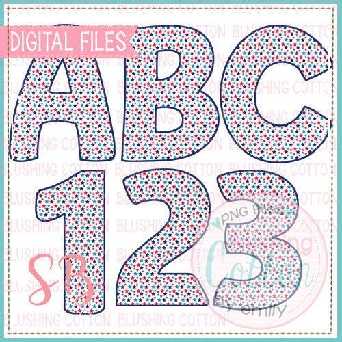 RED WHITE AND BLUE STAR ALPHA AND NUMBER BUNDLE   BCSB