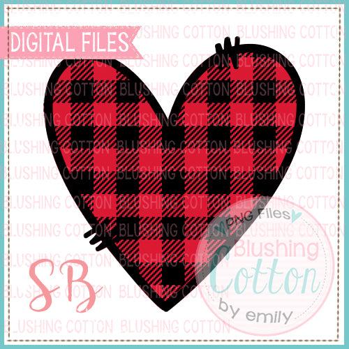 RED BUFFALO PLAID DOODLE HEART  BCSB