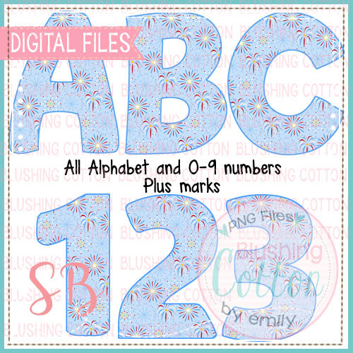 RED WHITE AND BLUE FIREWORKS SHOWER ALPHA AND NUMBER BUNDLE  BCSB