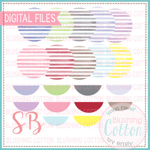 HORIZONTAL STRIPES WATERCOLOR  BACKGROUND WITH NAME PLATES MIX AND MATCH CIRCLE BUNDLE BCSB
