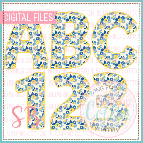 YELLOW BLUE FLORAL ALPHA AND NUMBER BUNDLE   BCSB