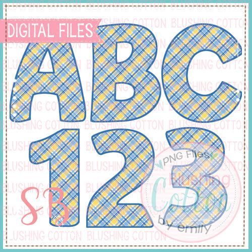 YELLOW BLUE PLAID ALPHA AND NUMBER BUNDLE  BCSB