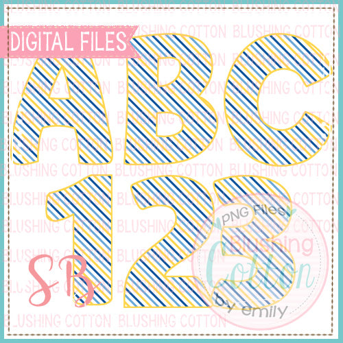 YELLOW BLUE STRIPE ALPHA AND NUMBER BUNDLE   BCSB