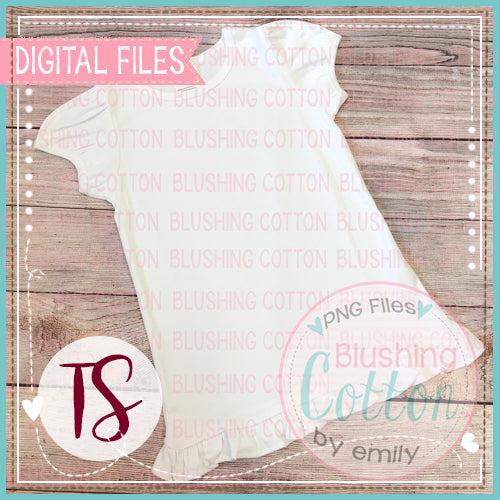 BB BLANKS GIRLS SHORT SLEEVE RUFFLE TOP PLAIN LAYOUT MOCK UP DESIGN BCTS