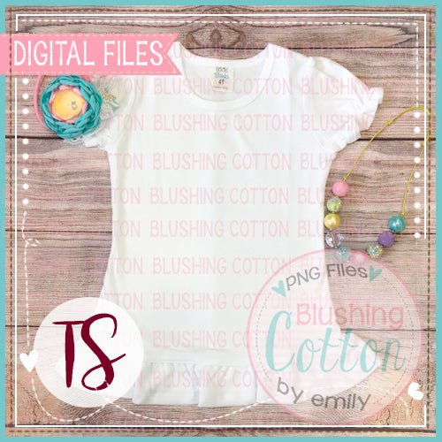 ARB PUFF SHORT SLEEVE RUFFLE TOP WITH SPRING HAIR ACCENTS FLAT LAY BCTS