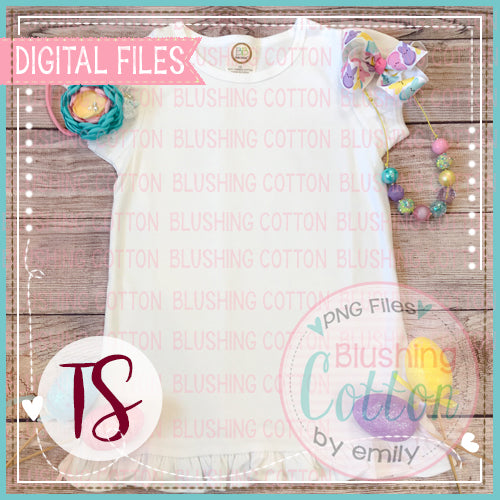 BB BLANKS WHITE RUFFLE SHORT SLEEVE TOP WITH EASTER ACCENTS 2 FLAT LAY BCTS
