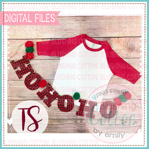 ARB RED RAGLAN CHILDS SHIRT WITH HO HO HO BANNER MOCK UP FLAT LAY PHOTO BCTS