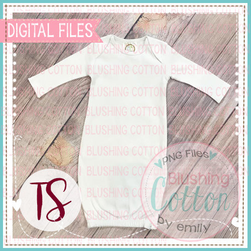 BB WHITE BABY GOWN PLAIN MOCK UP FLAT LAY PHOTO BCTS
