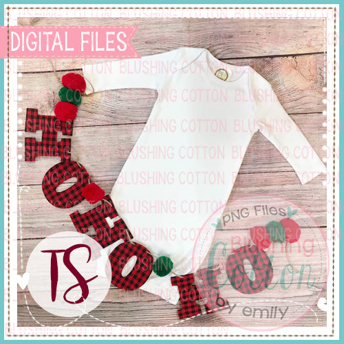 BB BLANKS WHITE BABY GOWN HO HO HO BANNER MOCK UP FLAT LAY PHOTO BCTS