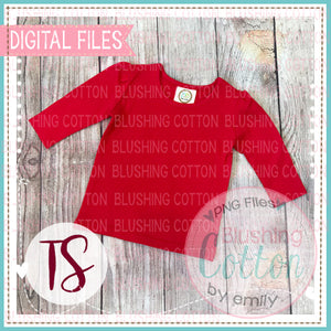 BB BLANKS RED GIRLS NON-RUFFLED TOP MOCK UP FLAT LAY DESIGN BCTS