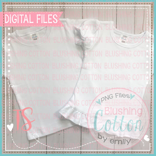 DIGITAL FILE ONLY  ARB TEE SHIRT BOYS WHITE SHORT SLEEVE PLAIN and GIRLS RUFFLE BOTTOM PUFF SLEEVE ARB TOP MOCK UP  BCTS