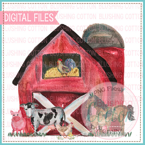 RED BARN SCENE WITH ANIMAL WATERCOLOR PNG BC