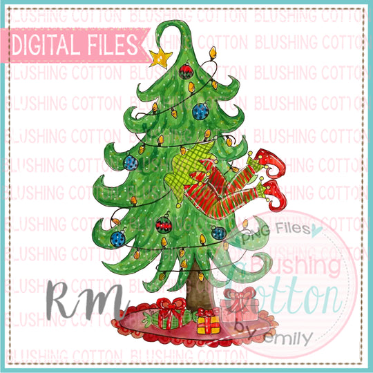 ELF STUCK IN CHRISTMAS TREE WATERCOLOR DESIGN  BCRM