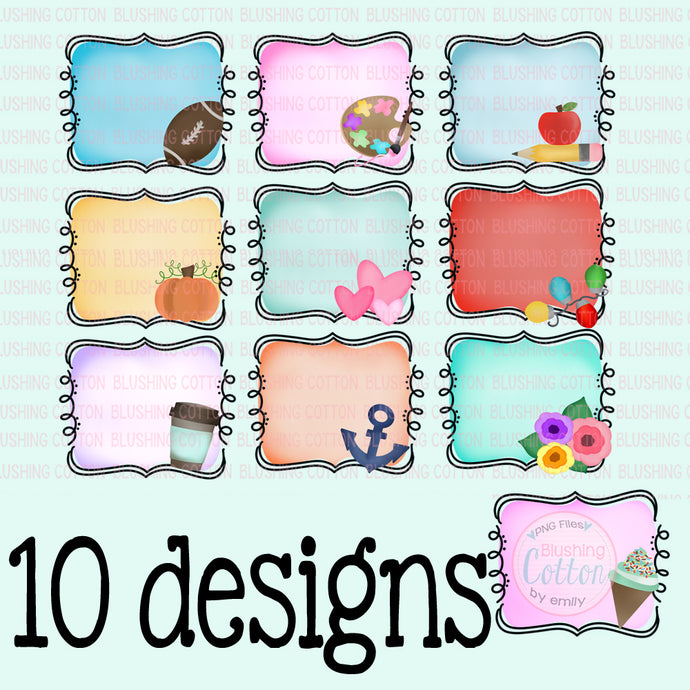 SCROLL FRAME THEMED SET OF 10  WATERCOLOR DESIGNS BCEH