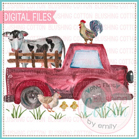 TRUCK WITH ANIMALS IN THE BACK WATERCOLOR PNG BC