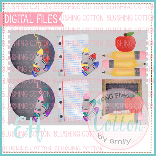 BACK TO SCHOOL SET OF 6 WATERCOLOR DESIGNS BCEH