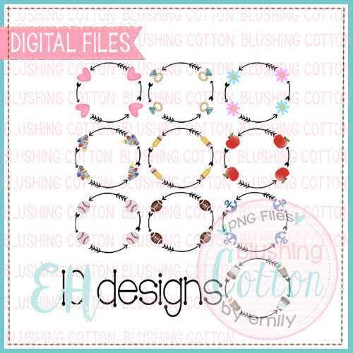 CIRCLE ARROW SET OF 10 WATERCOLOR DESIGNS BCEH