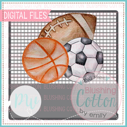 FOOTBALL SOCCER BASKETBALL CLUSTER ON GRAY ROUNDED SQUARE CHECK BACKGROUND WITH NAME AREA DESIGN WATERCOLOR PNG BCPW