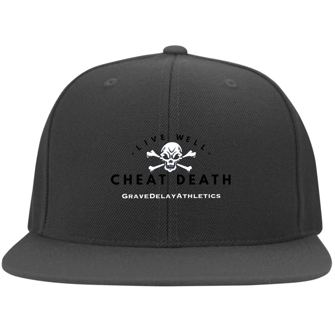 Live Well Cheat Death - Embroidered Flat Bill Twill Flexfit Cap