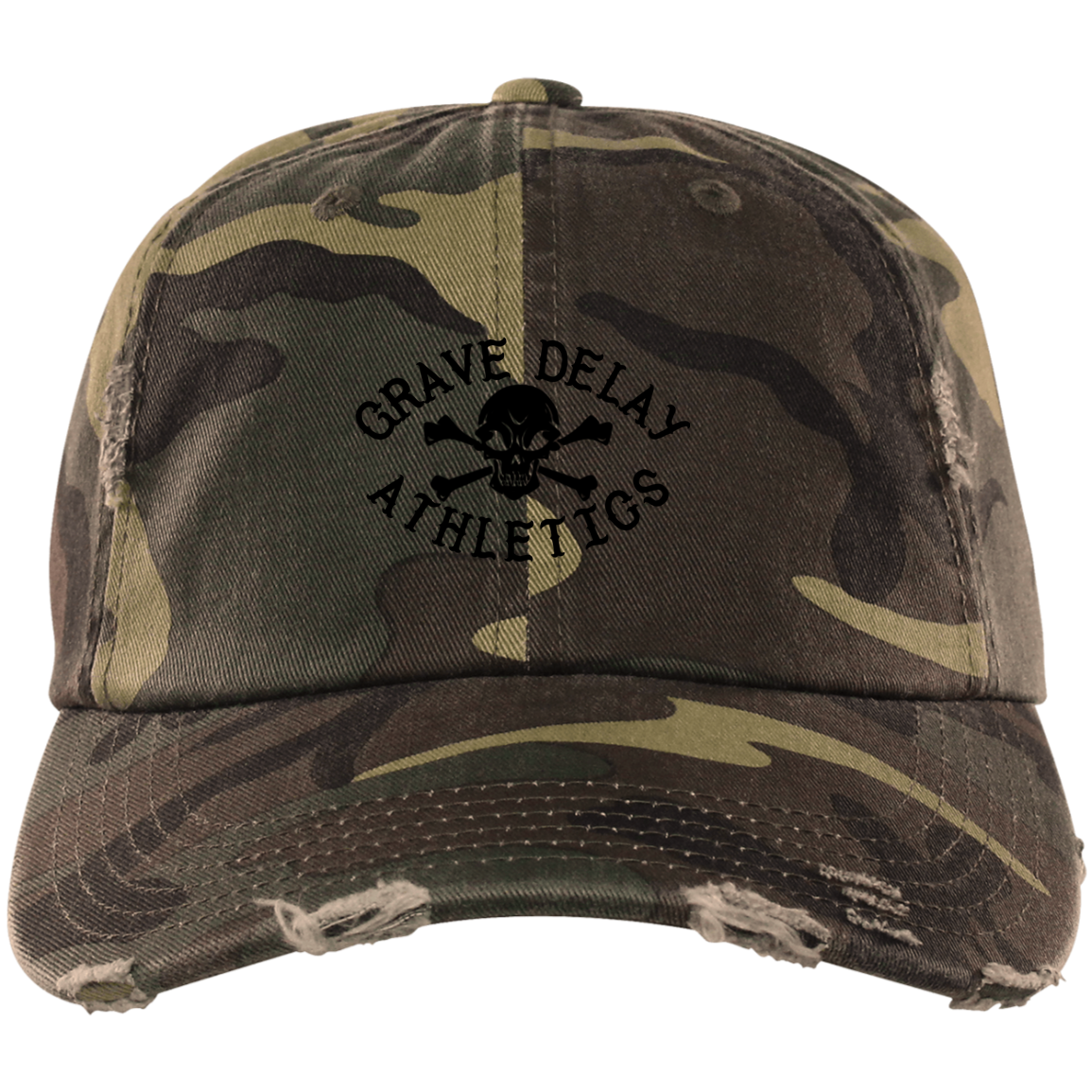 GDA Skull and Cross Bones Distressed Camo Cap