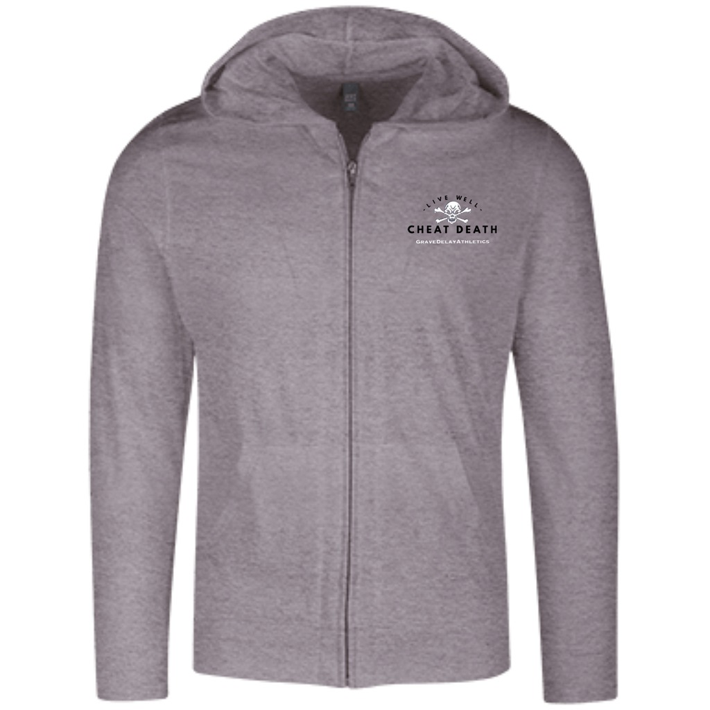 Live Well...Embroidered Lightweight Full Zip Hoodie
