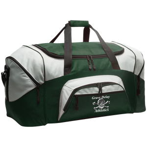 Embroidered Colorblock Sport and Gym Duffel Bag