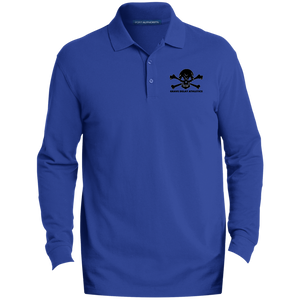 Skull and Crossbones - Men's Embroidered LS Polo