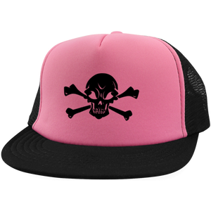 Skull & Crossbones Embroidered Trucker Hat with Snapback