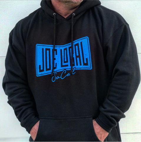 Joe Local So Cal Black Hoodie with blue flag logo. Premium Heavyweight 13.5oz/450gm fleece ring spun cotton 70% cotton / 30% polyester. double fleece lined hood antique silver eyelets heavy duty 100% cotton shoestring drawcord with antique silver tips double ribbing side panels for stretch. Back of hoodie features Joe Local logo at center top under the neck.