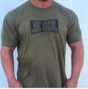Joe Local Military Green with Blue Distressed Logo