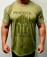 Load image into Gallery viewer, Peaceful Not Passive American Patriot T-Shirt